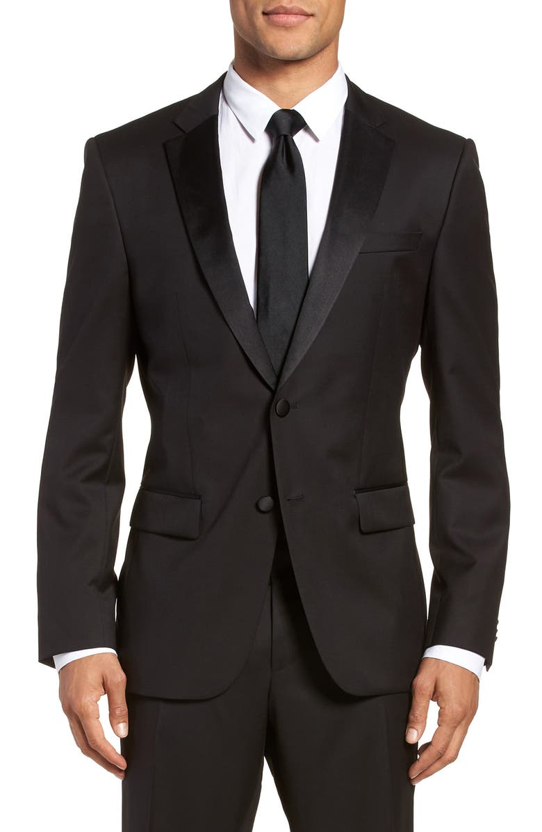 BOSS Hence CYL Slim Fit Wool Dinner Jacket, Main, color, BLACK