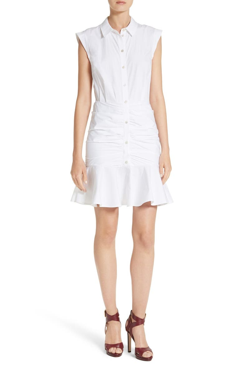 VERONICA BEARD Bell Ruched Shirtdress, Main, color, WHITE
