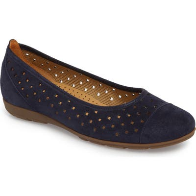 Gabor Perforated Ballet Flat, Blue