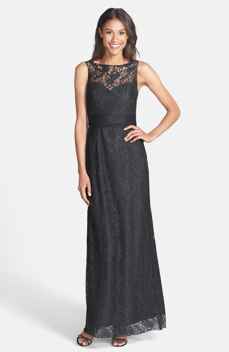 AMSALE Illusion Yoke Lace Gown, Main, color, 022