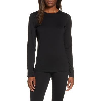 Icebreaker Oasis Long Sleeve Merino Wool Base Layer Tee, Black
