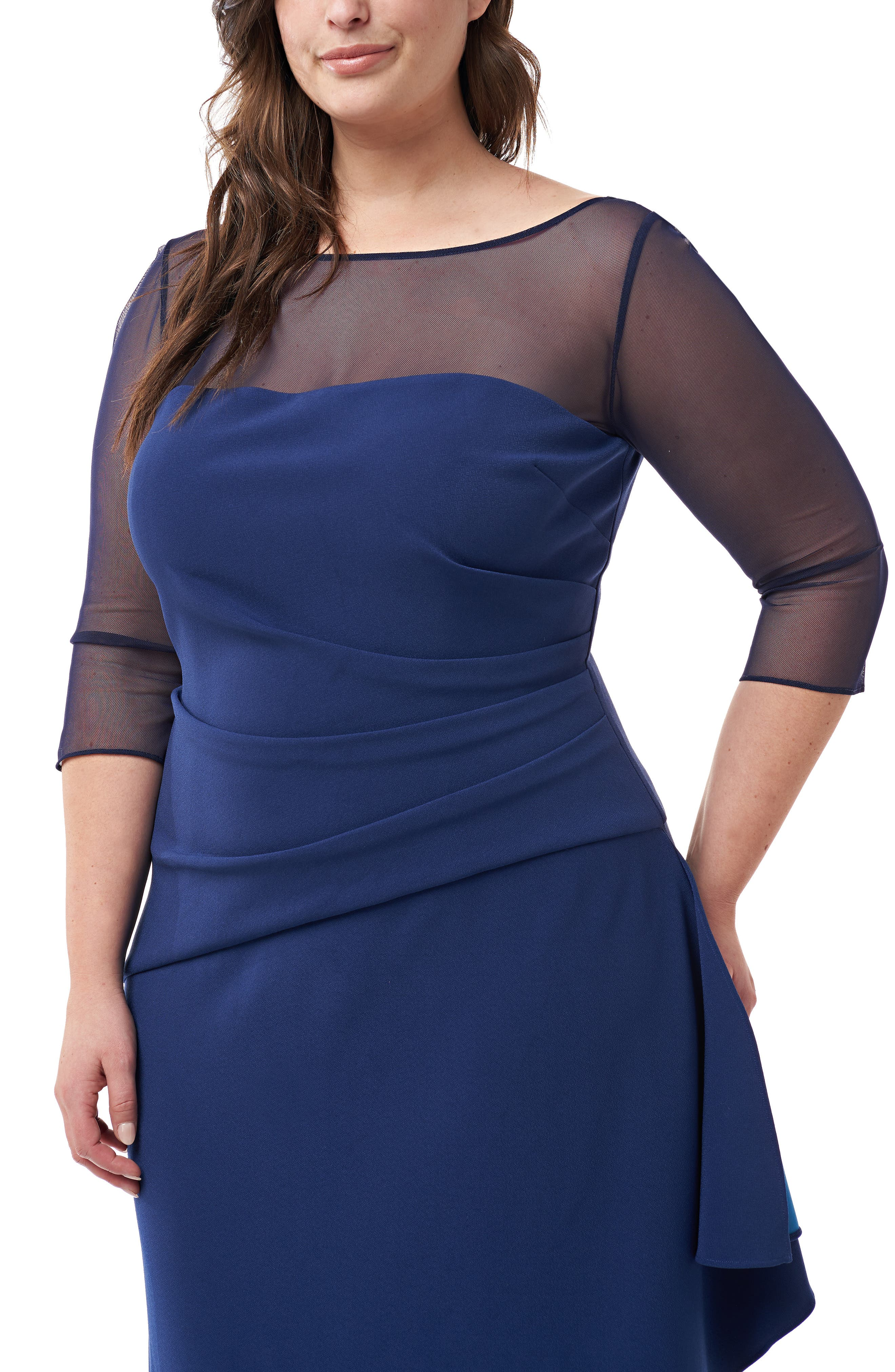 ,                             Ruched Crepe Evening Dress,                             Alternate thumbnail 3, color,                             NAVY TURQUOISE