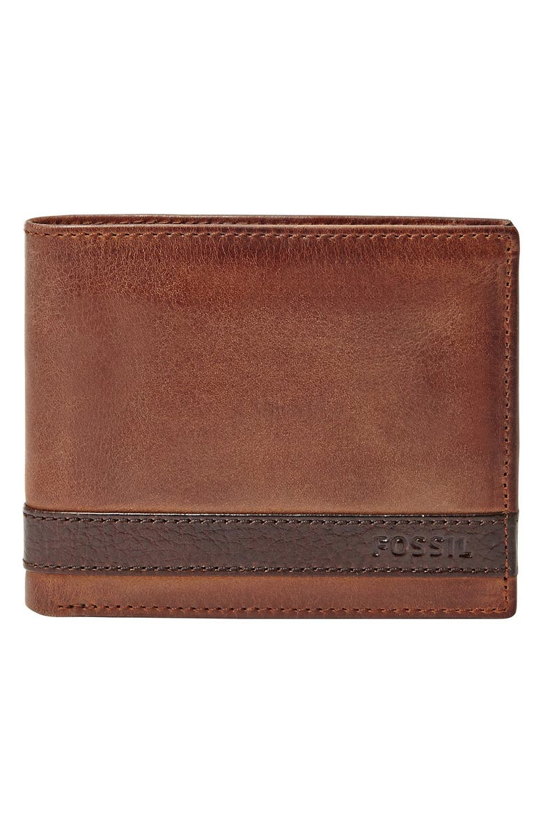 FOSSIL Quinn Leather Bifold Wallet, Main, color, BROWN