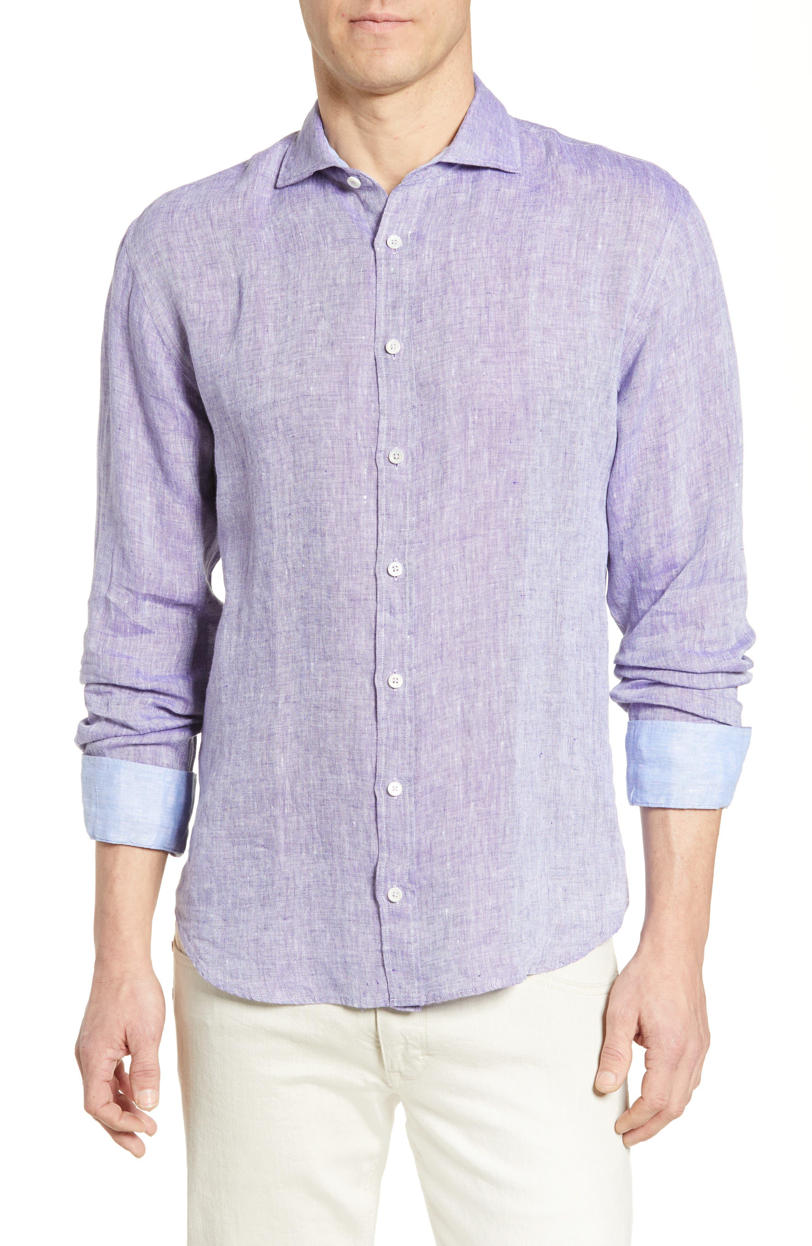 men's bugatchi shaped fit linen shirt, size xxx-large - purple