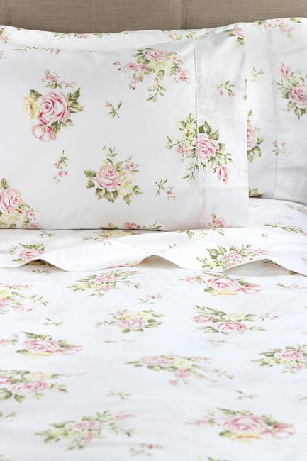 Image of Melange Home Queen 400 Thread Count Cotton Rose Bouquet Sheet 4-Piece Set - White/Pink