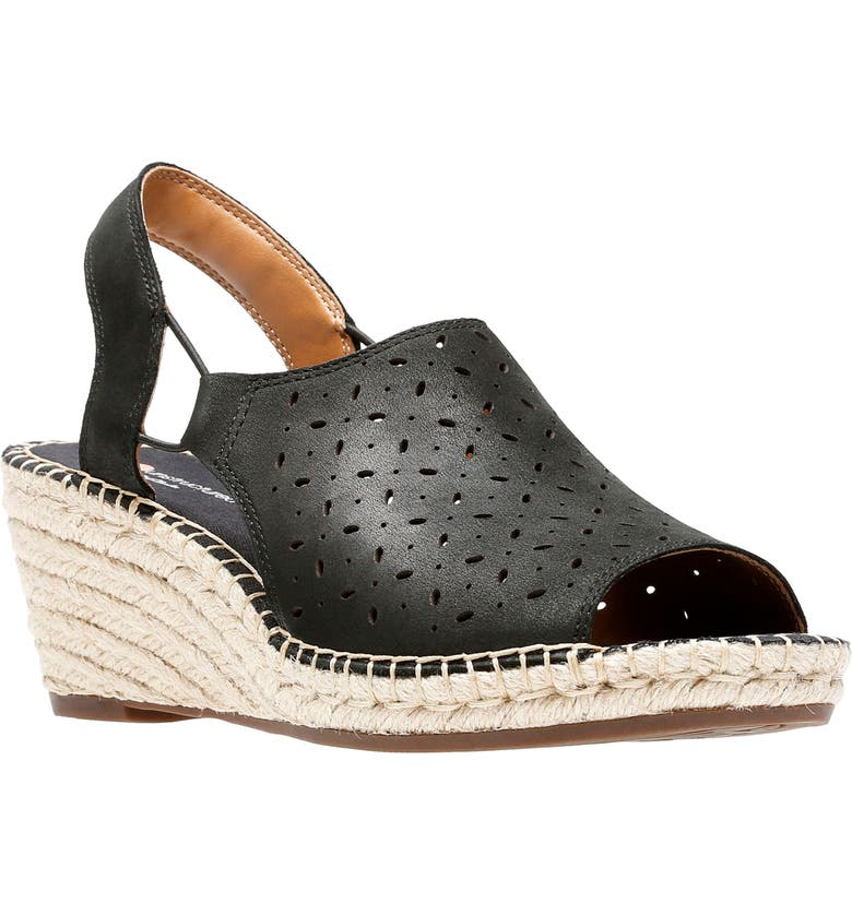 CLARKS<SUP>®</SUP> Petrina Gail Wedge Sandal, Main, color, BLACK NUBUCK