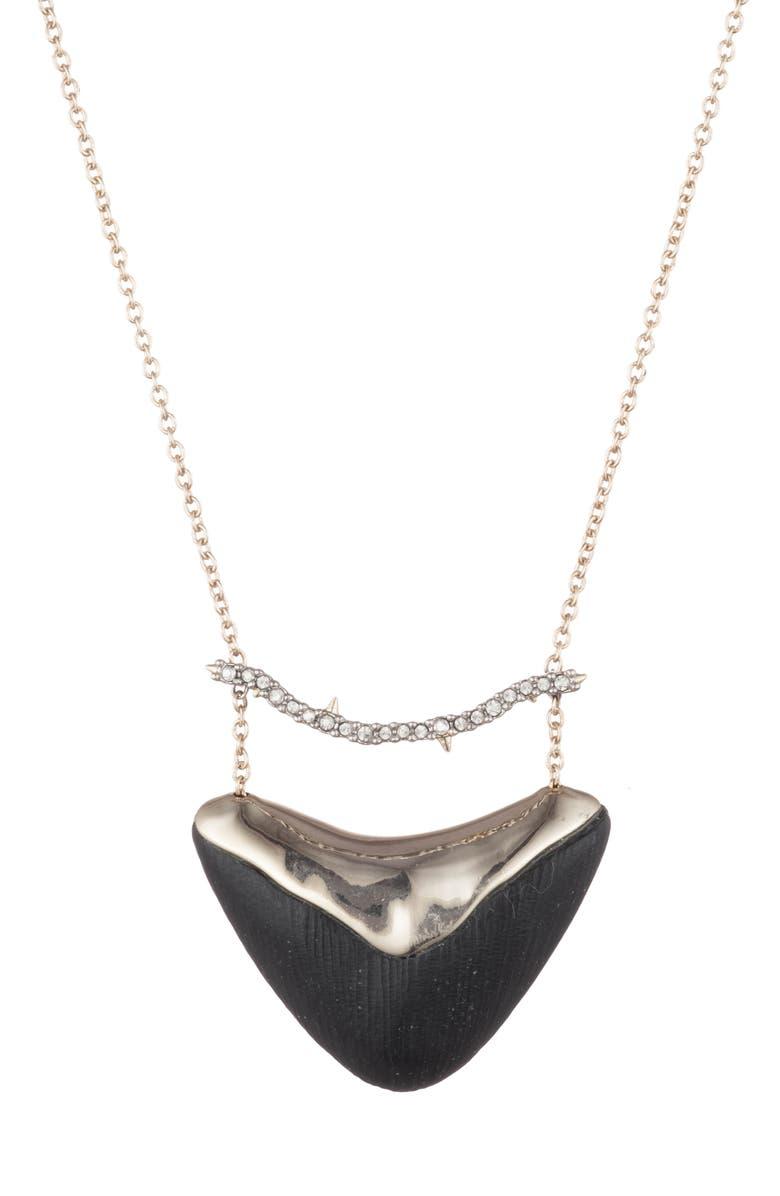 ALEXIS BITTAR Essentials Crystal Encrusted Bar & Shield Pendant Necklace, Main, color, BLACK