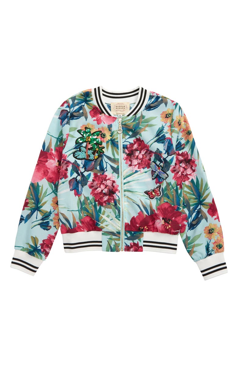 TRULY ME Tropical Bomber Jacket, Main, color, MINT MULTI