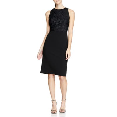 Halston Heritage Ruched Detail Cocktail Dress, Black