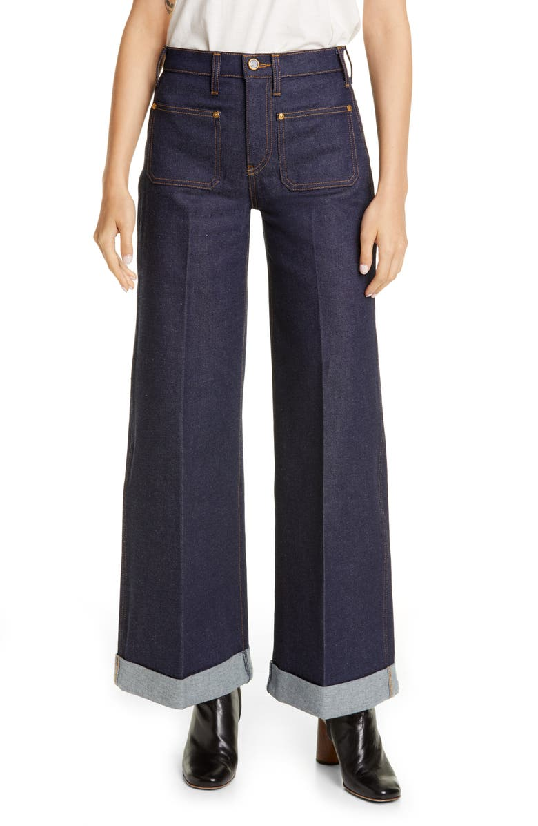 KHAITE The Ray Roll Cuff Wide Leg Jeans, Main, color, RAW