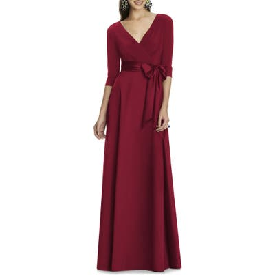 Alfred Sung Jersey & Mikado A-Line Gown, Burgundy