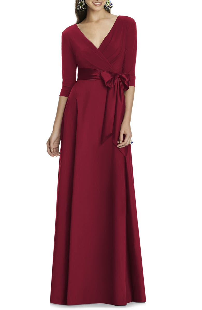 ALFRED SUNG Jersey & Mikado A-Line Gown, Main, color, BURGUNDY