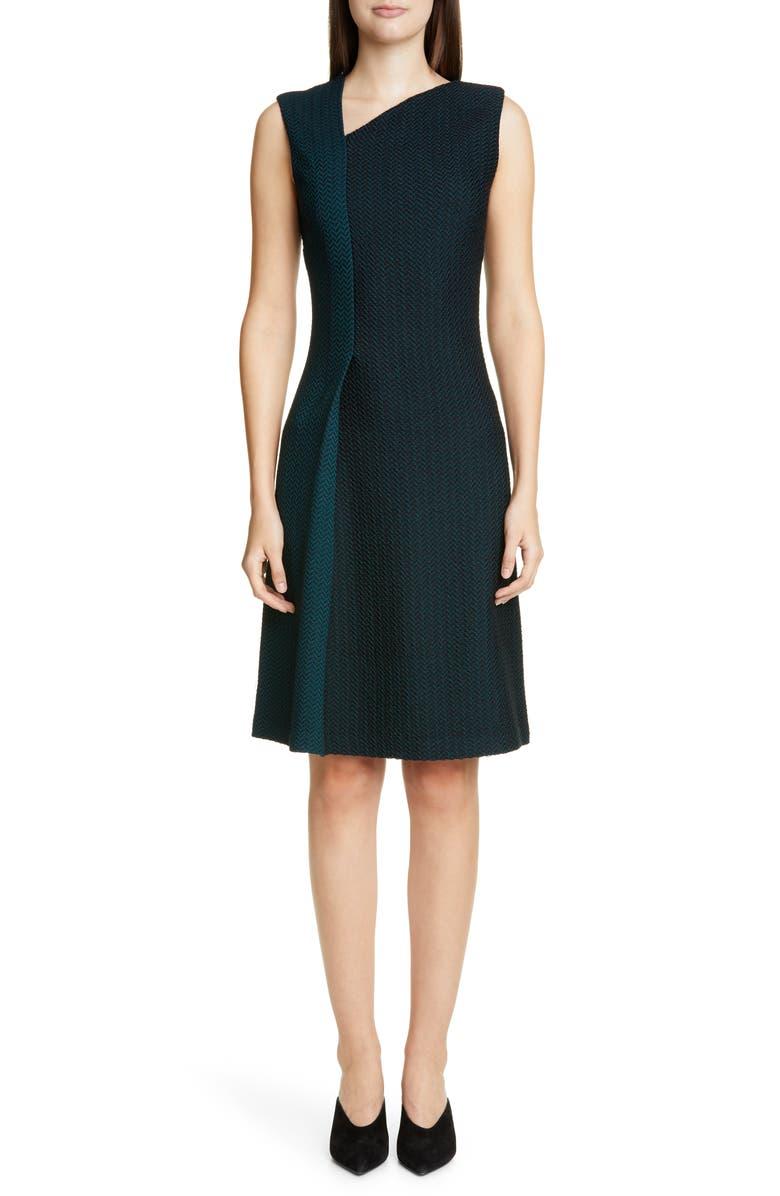 ST. JOHN COLLECTION Refined Textured Herringbone Fit & Flare Dress, Main, color, PETROL/ CAVIAR MULTI