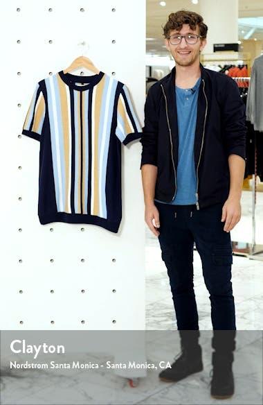 Slim Fit Stripe Short Sleeve Sweater, sales video thumbnail