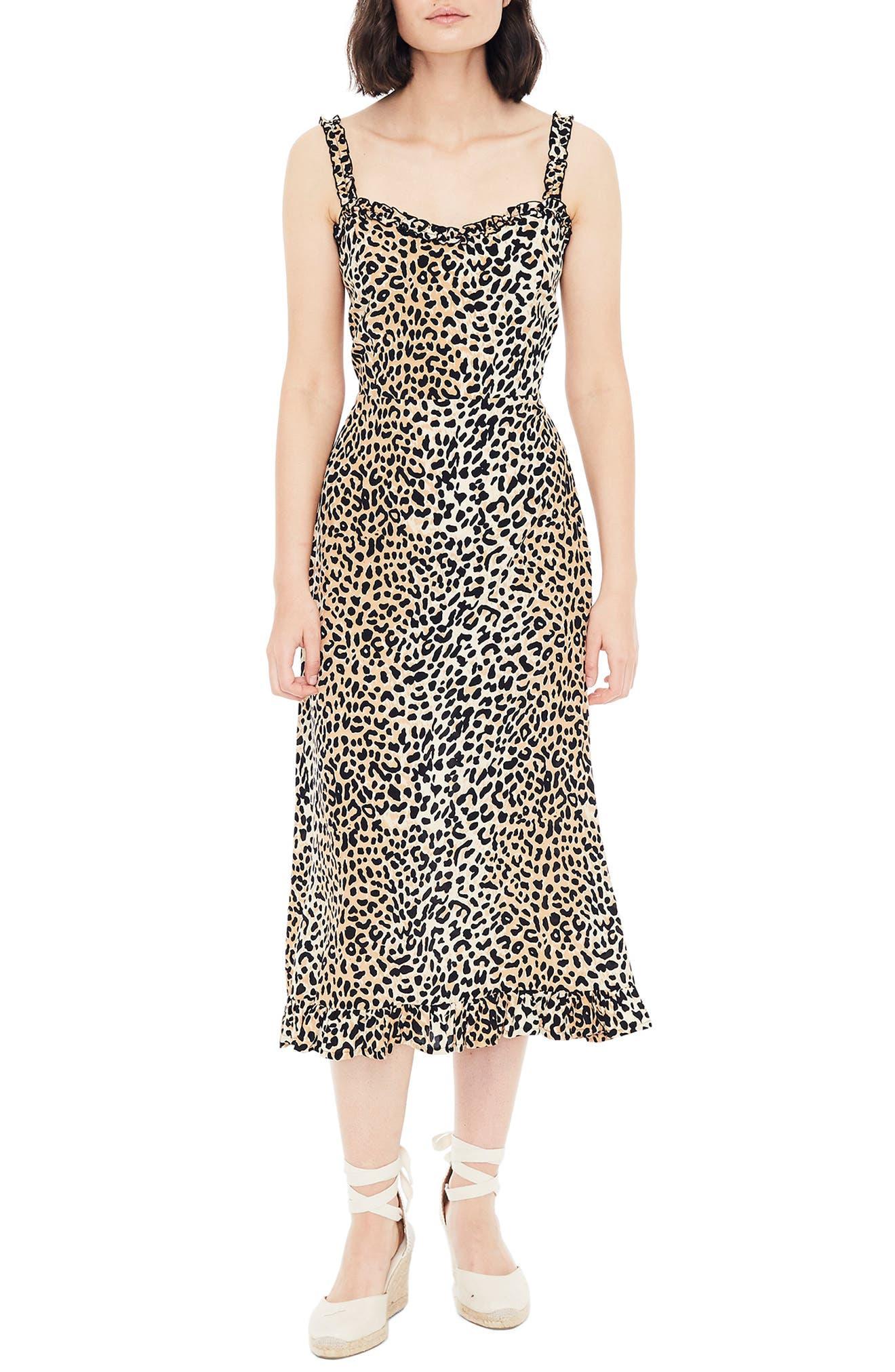 Faithfull The Brand Noemie Animal Print Midi Dress, Brown