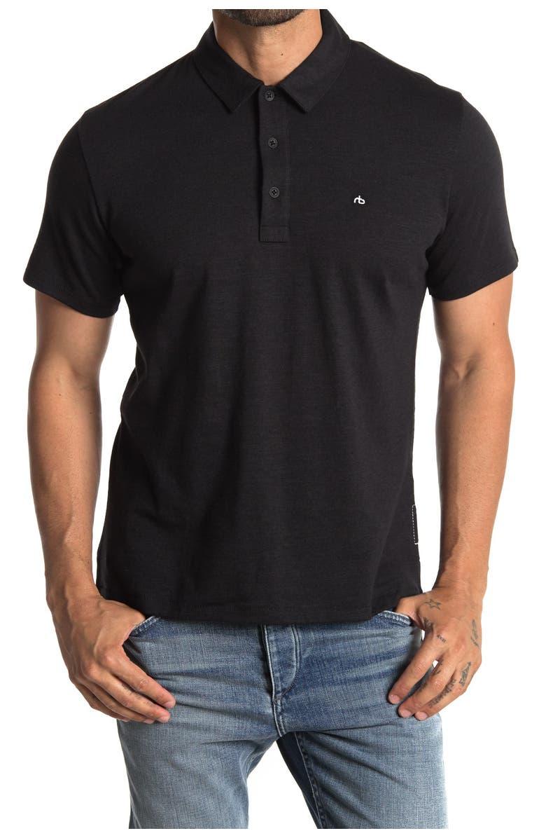 RAG AND BONE Standard Issue Regular Fit Slub Cotton Polo, Main, color, BLACK