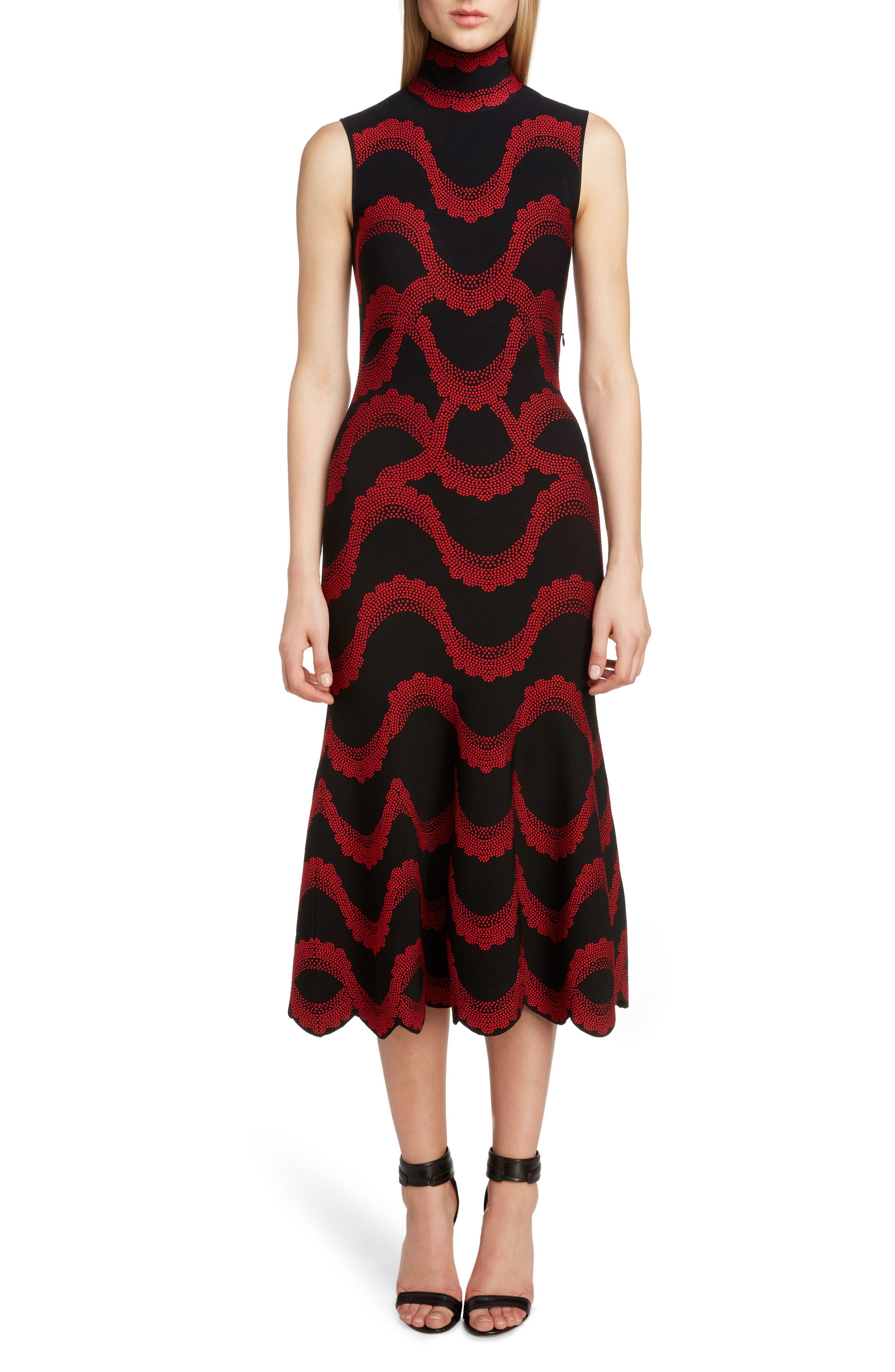 ,                             Wave Jacquard Midi Dress,                             Main thumbnail 1, color,                             BLACK/ RED