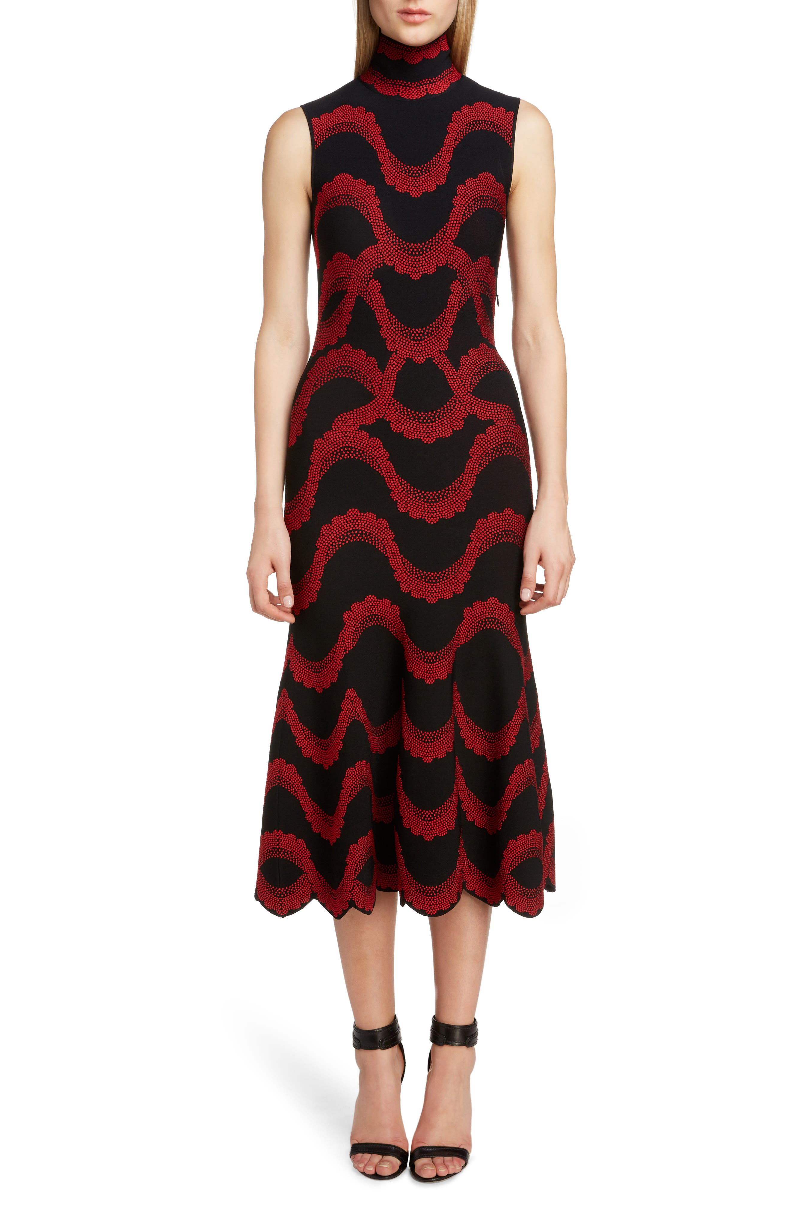 Wave Jacquard Midi Dress, Main, color, BLACK/ RED