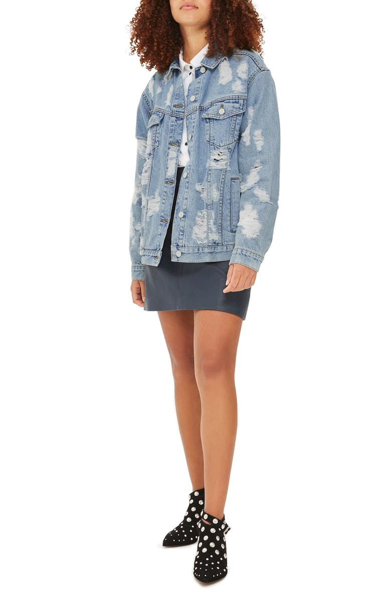 TOPSHOP Ripped Denim Jacket, Main, color, 400