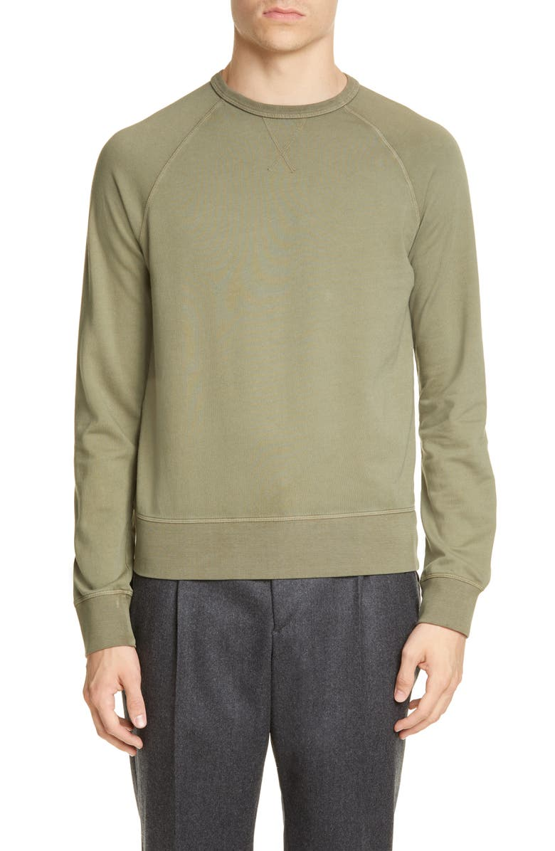 OFFICINE GÉNÉRALE Clement Pigment Dyed Crewneck Sweatshirt, Main, color, BURNT OLIVE
