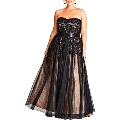 Plus Size City Chic Embellished Tulle Strapless Ballgown, Black