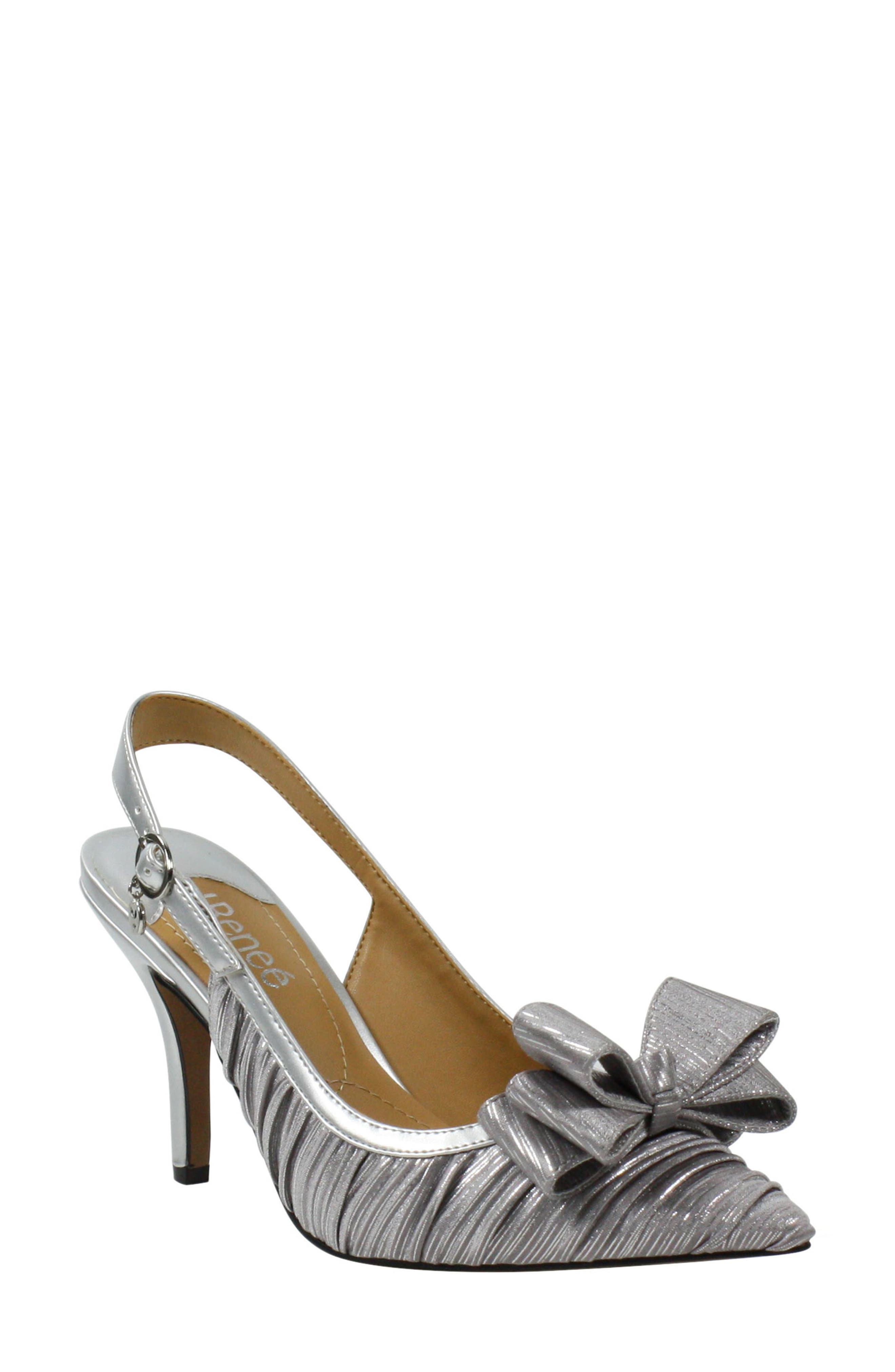 An exuberant bow adds a playfully chic flourish to the pointy toe of a shimmery pump with delicate netted detailing and a charm at the slingback strap. Style Name:J. Renee Charise Bow Pointed Toe Slingback Pump (Women). Style Number: 5892988. Available in stores.