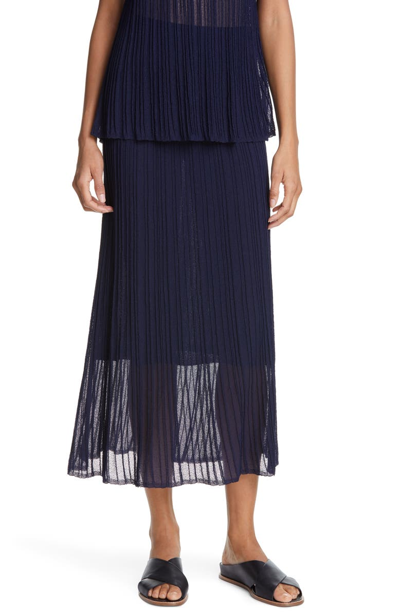 VINCE Sheer Crinkle Flounce Midi Skirt, Main, color, MARINE