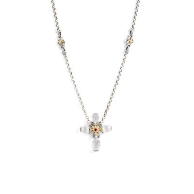 Konstantino Pythia Faceted Crystal Cross Pendant Necklace