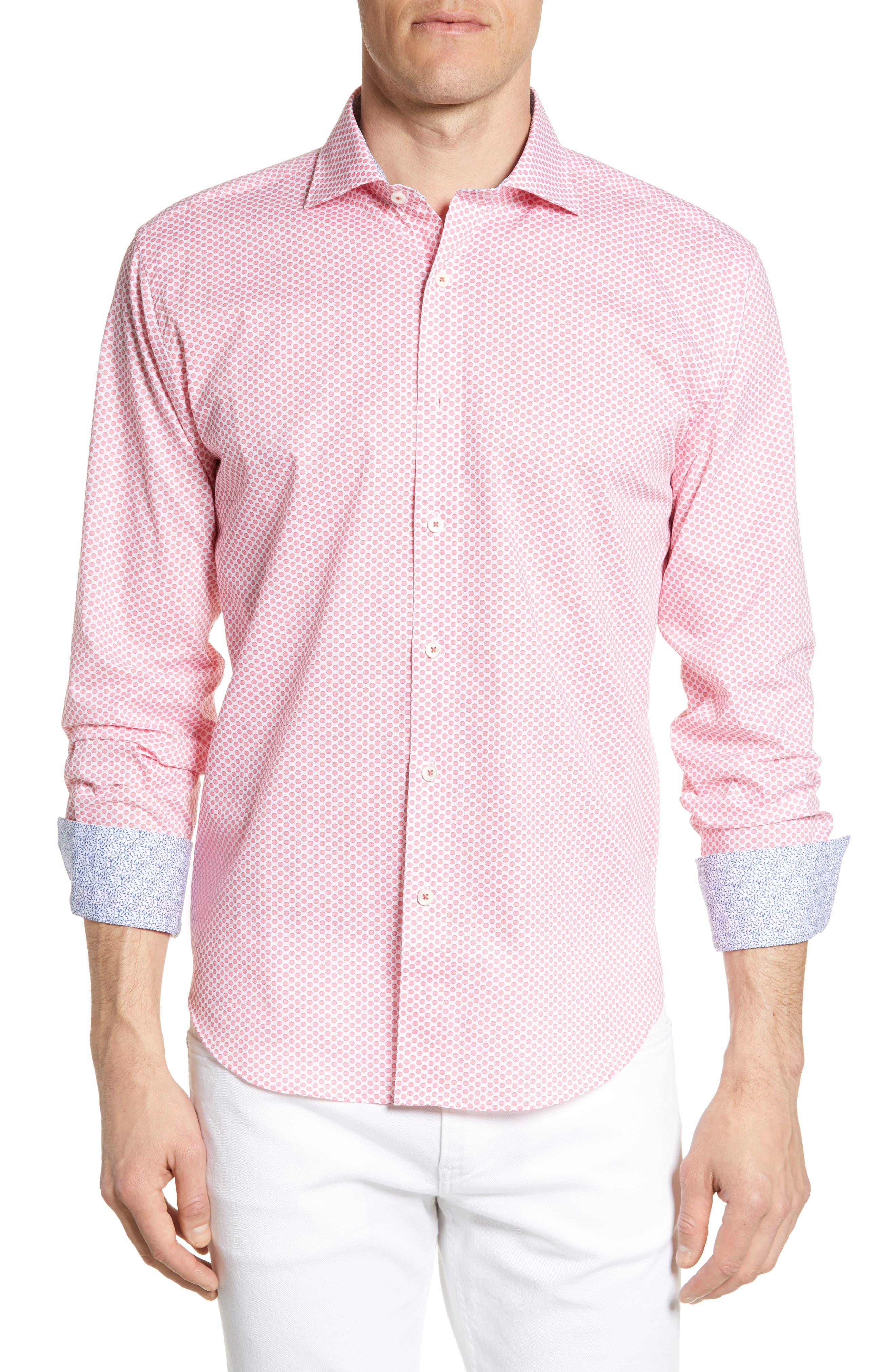 men's bugatchi shaped fit print shirt