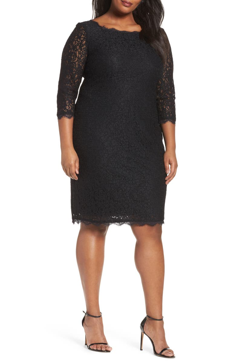 ADRIANNA PAPELL Lace Overlay Sheath Dress, Main, color, 001