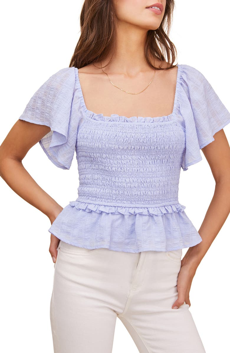 ASTR THE LABEL January Smocked Top, Main, color, PERIWINKLE