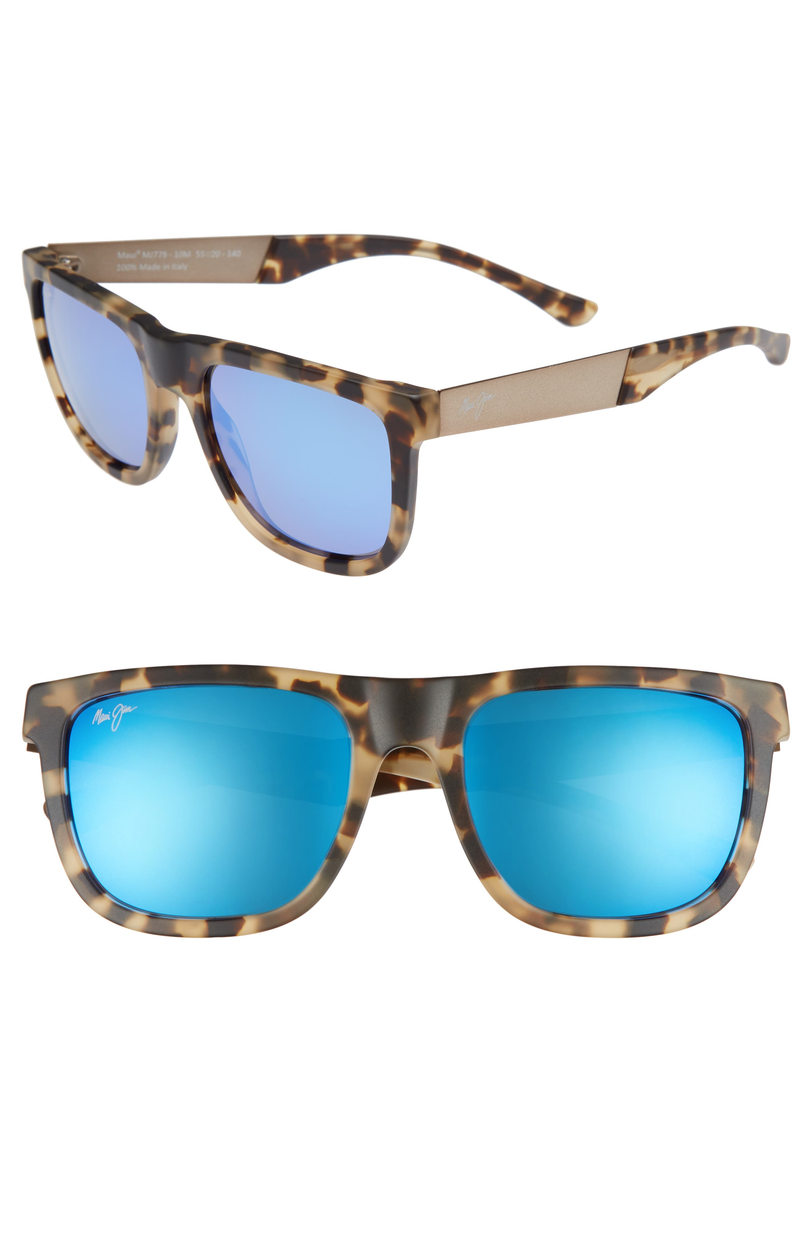 Maui Jim Talk Story 55Mm Polarized Sunglasses - Matte Tortoise/ Blue Hawaii