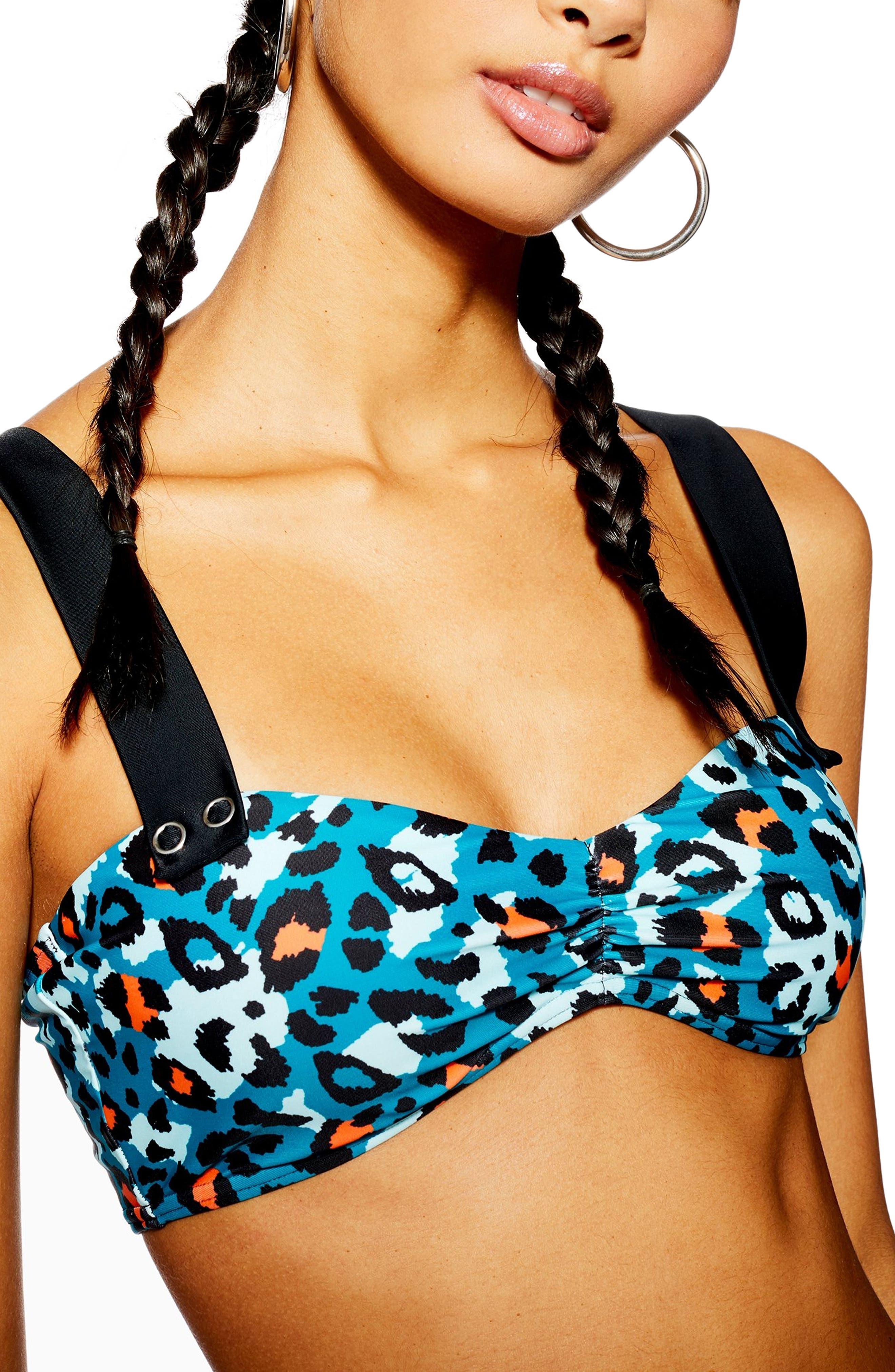 Topshop Animal Print Bandeau Bikini Top, US (fits like 10-12) - Blue