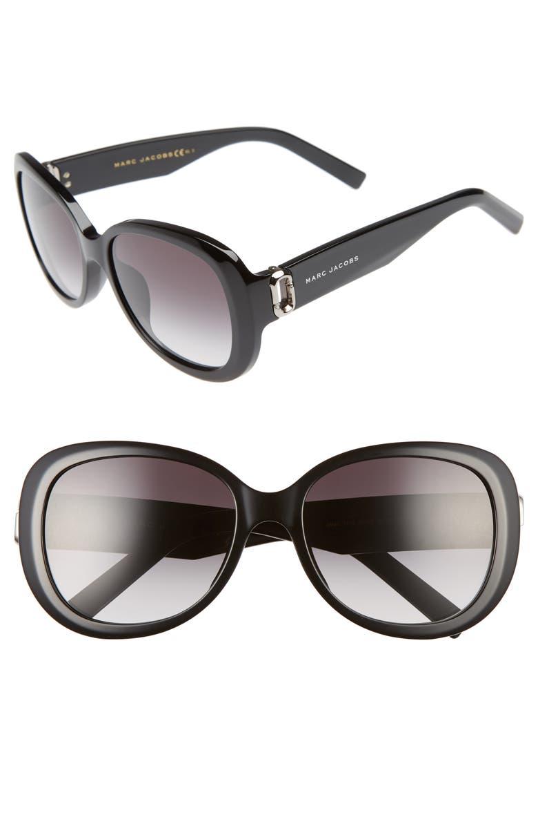 MARC JACOBS 56mm Sunglasses, Main, color, 001