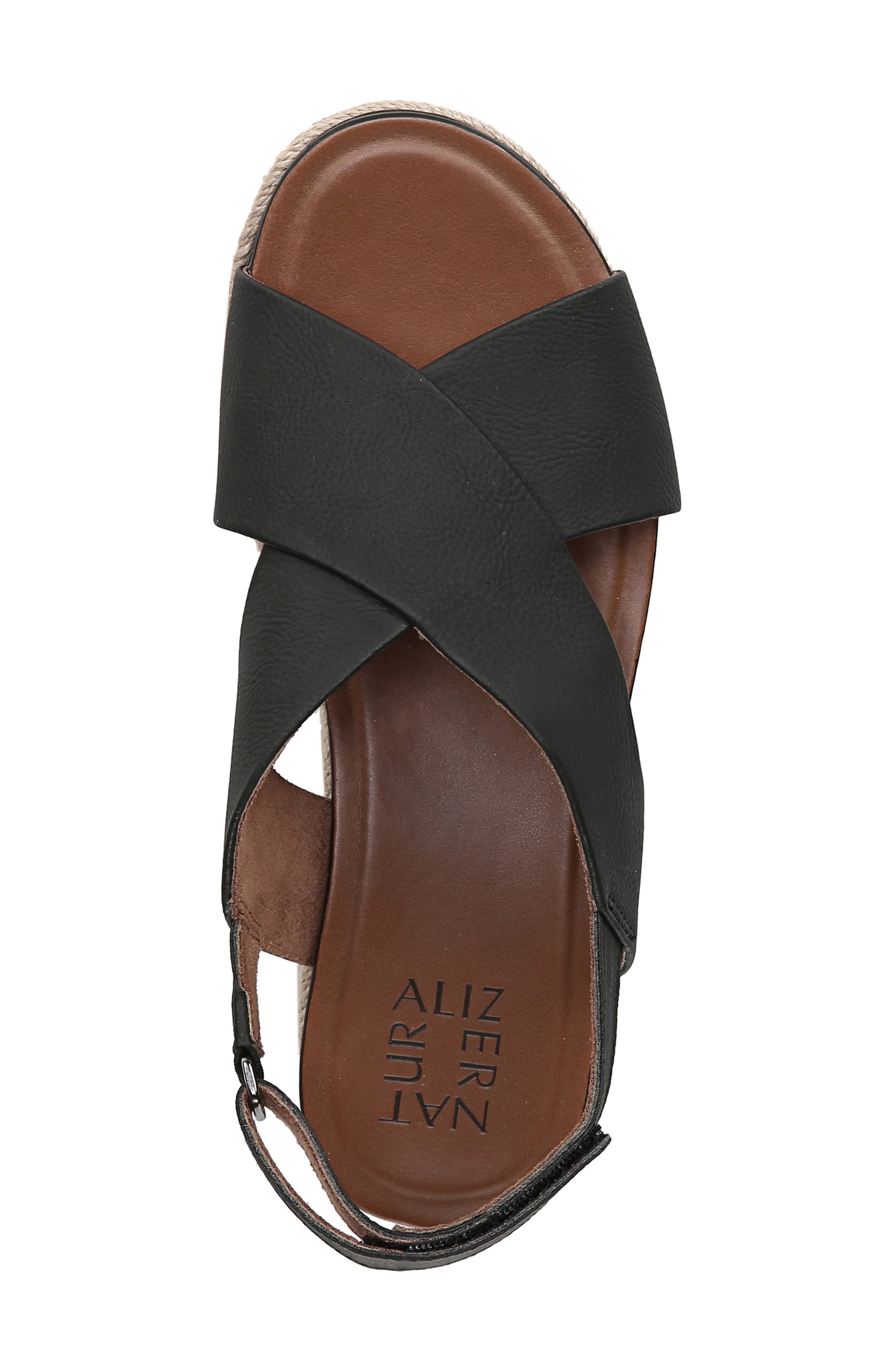 ,                             Baya Espadrille Wedge Sandal,                             Alternate thumbnail 5, color,                             BLACK NUBUCK LEATHER