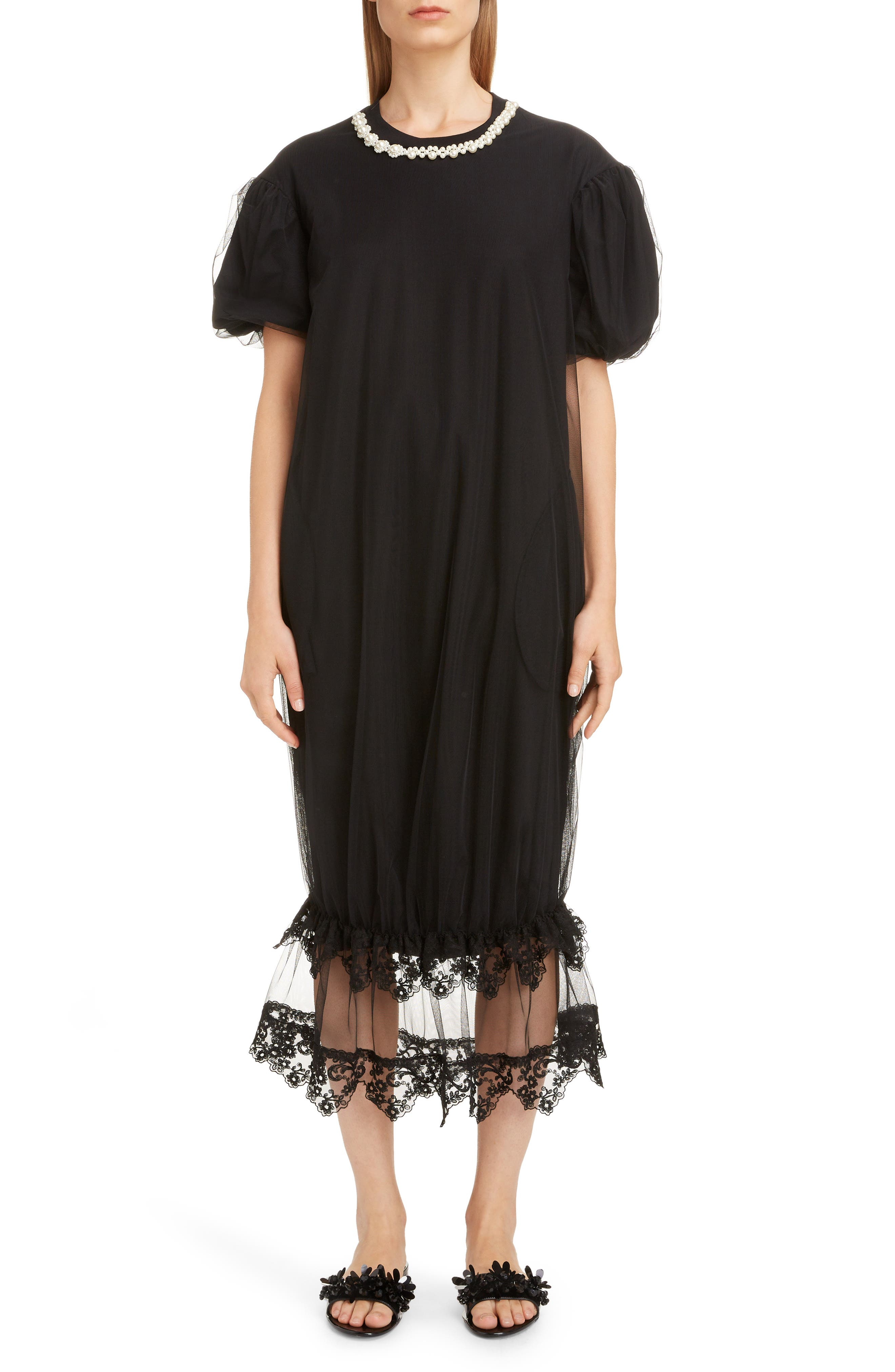 Tulle Puff T-Shirt Dress, Main, color, BLACK/ PEARL