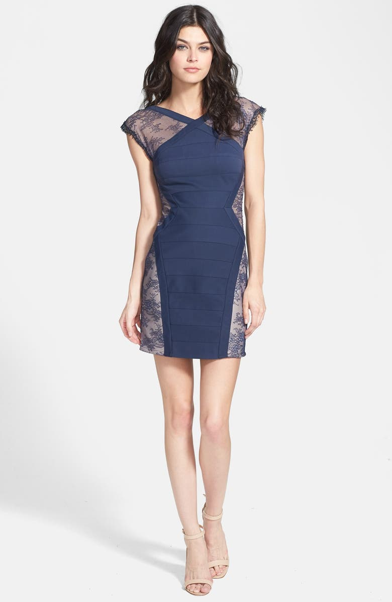 BCBGMAXAZRIA 'Jess'  Cap Sleeve Lace Panel Dress, Main, color, 480