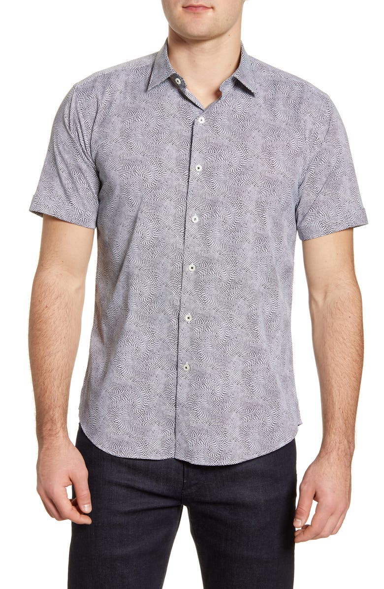 BUGATCHI Shaped Fit Short Sleeve Button-Up Performance Shirt, Main, color, BLACK