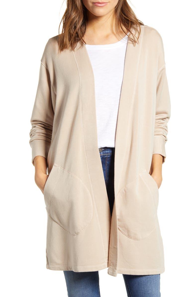 STATESIDE Fleece Cardigan, Main, color, STONE BEIGE