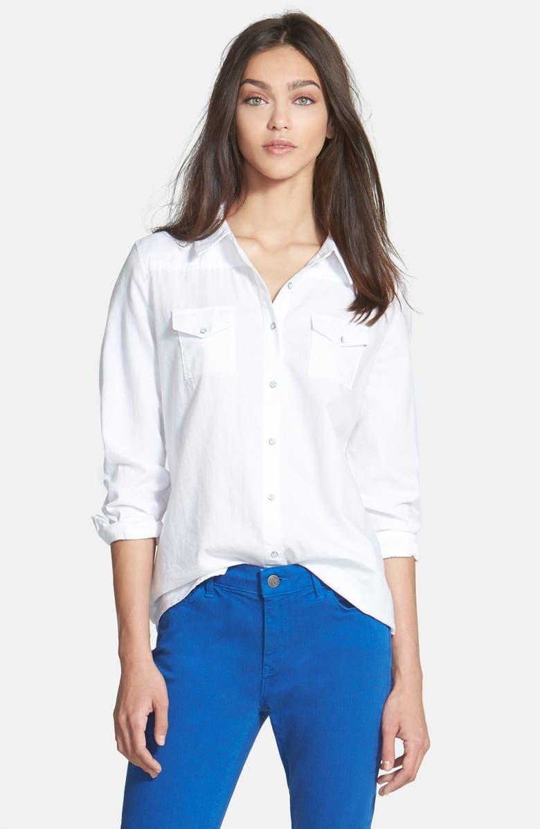 HINGE <sup>®</sup> Button Front Shirt, Main, color, 100