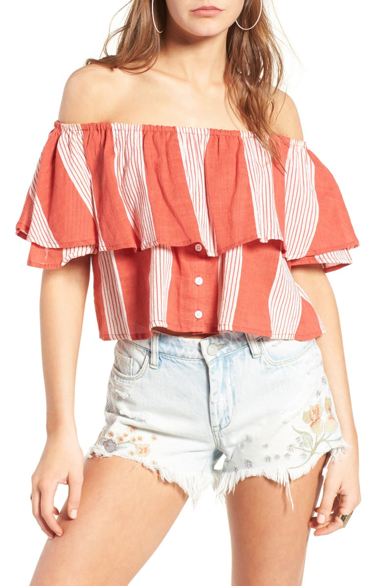 FAITHFULL THE BRAND Salerno Off the Shoulder Crop Top, Main, color, 950