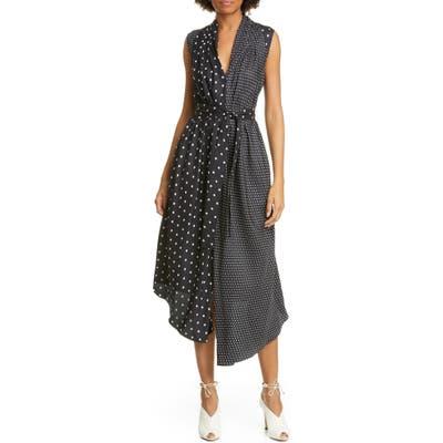 Adam Lippes Asymmetrical Polka Dot Silk Midi Dress, Black