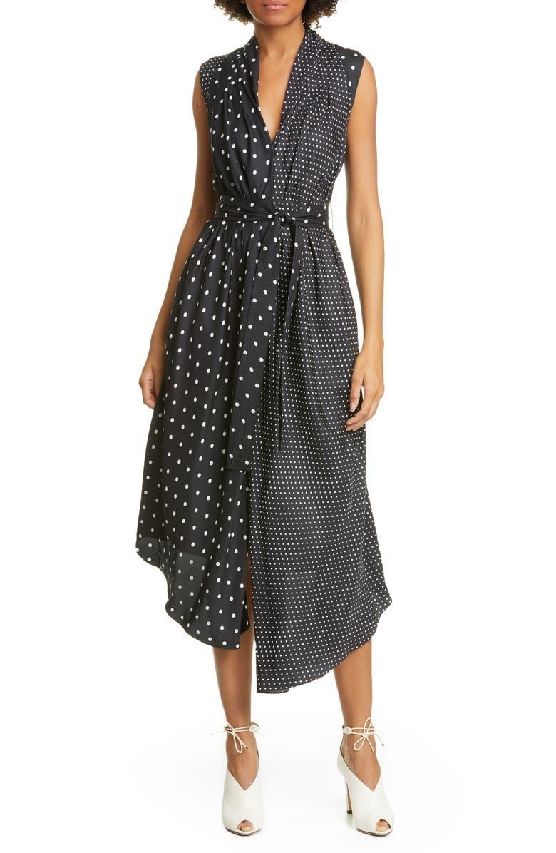 ADAM LIPPES Asymmetrical Polka Dot Silk Midi Dress, Main, color, 001