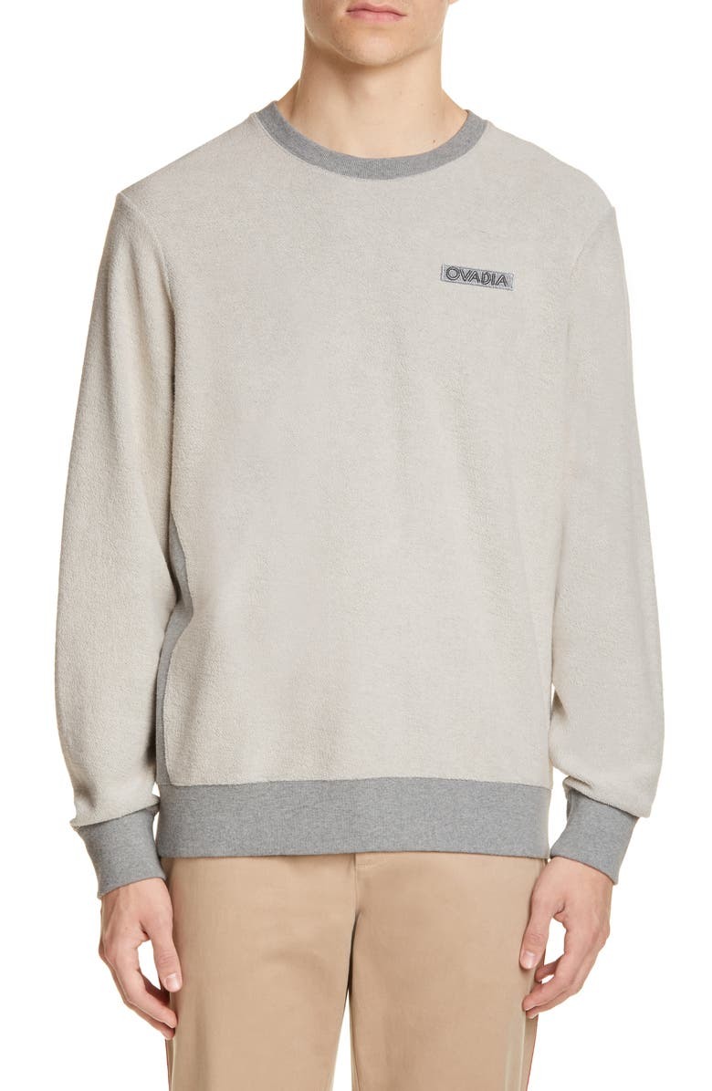 OVADIA & SONS Inside Out French Terry Sweatshirt, Main, color, HEATHER GRAY