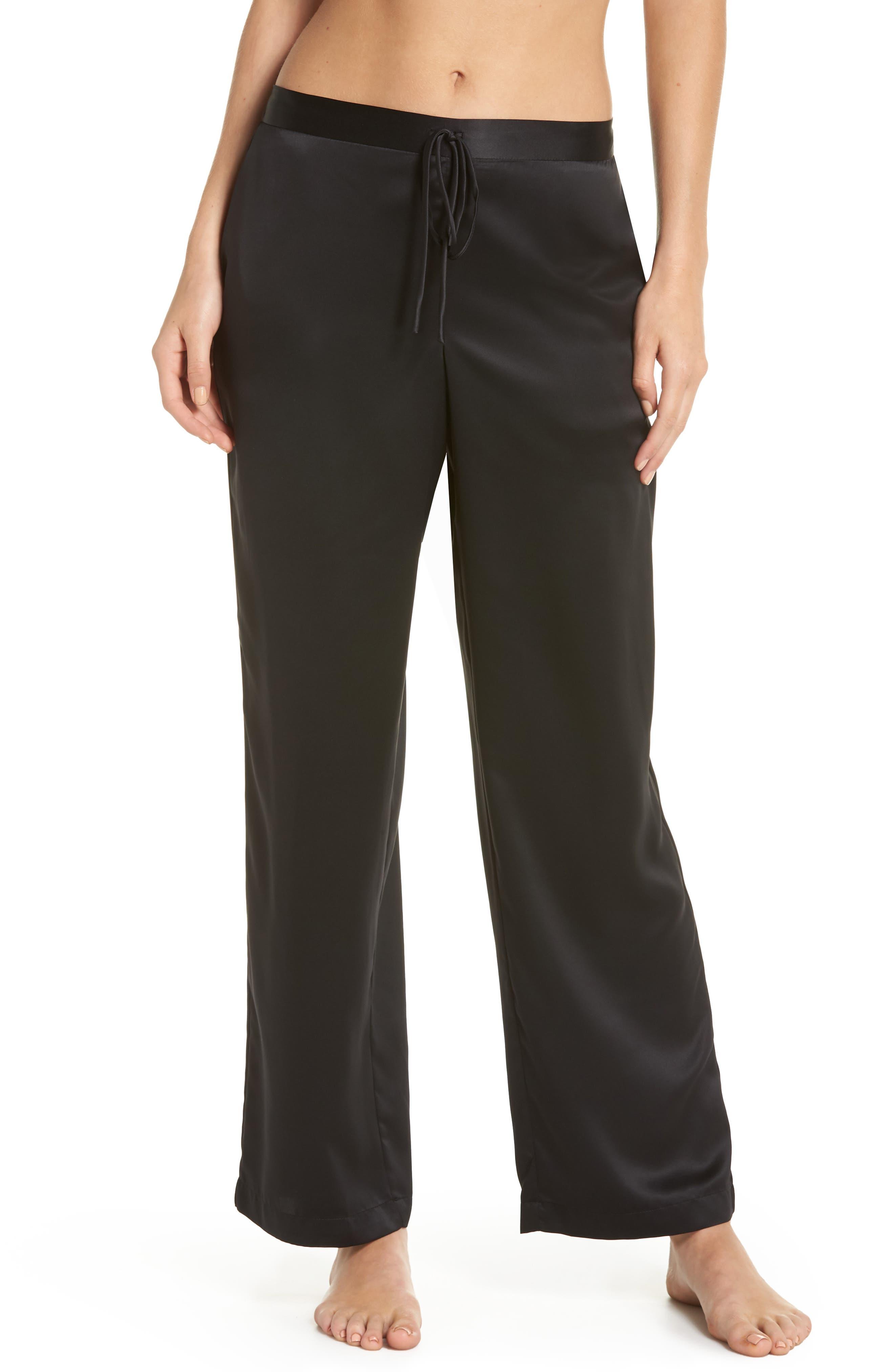 Natori Satin Elements Pajama Pants, Black