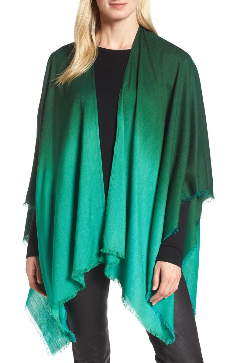 EILEEN FISHER Ombré Poncho Wrap, Main, color, 369