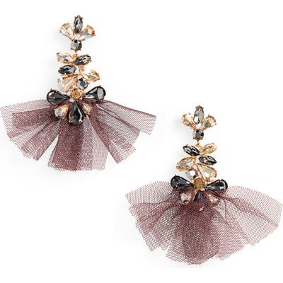 Stella + Ruby Crystal & Tulle Drop Earrings