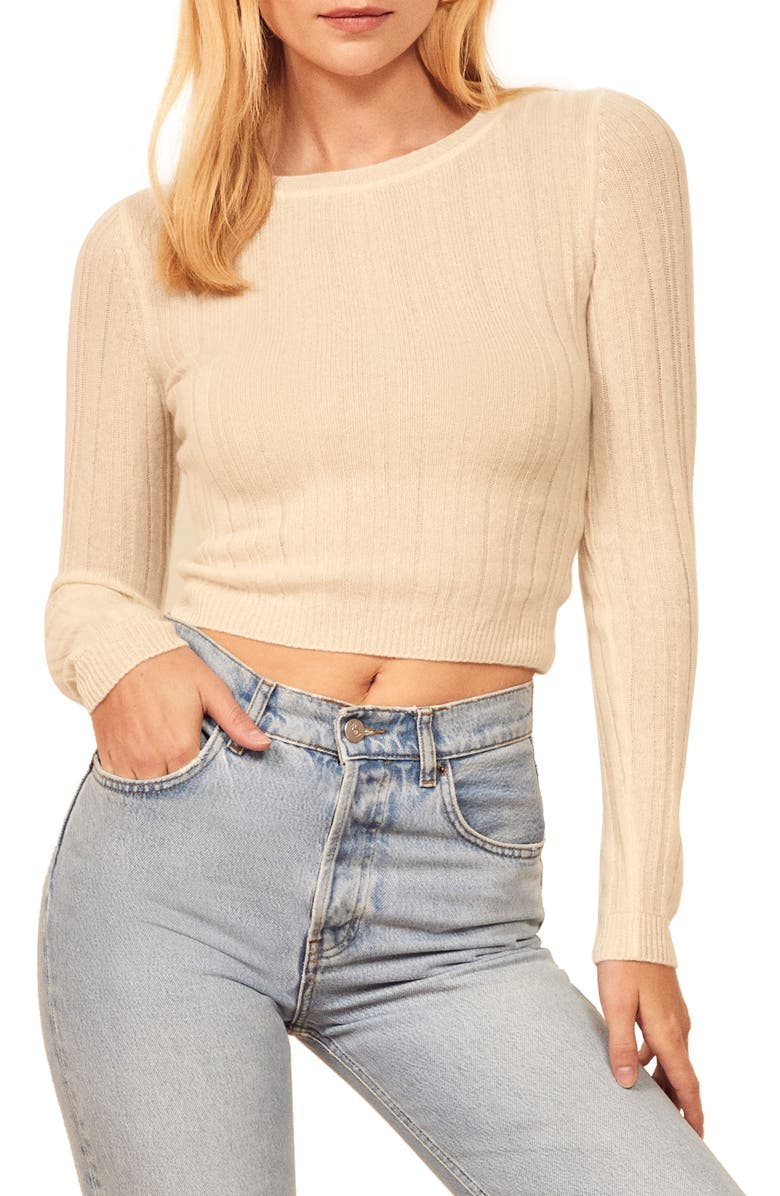 REFORMATION Cashmere & Wool Crop Sweater, Main, color, IVORY