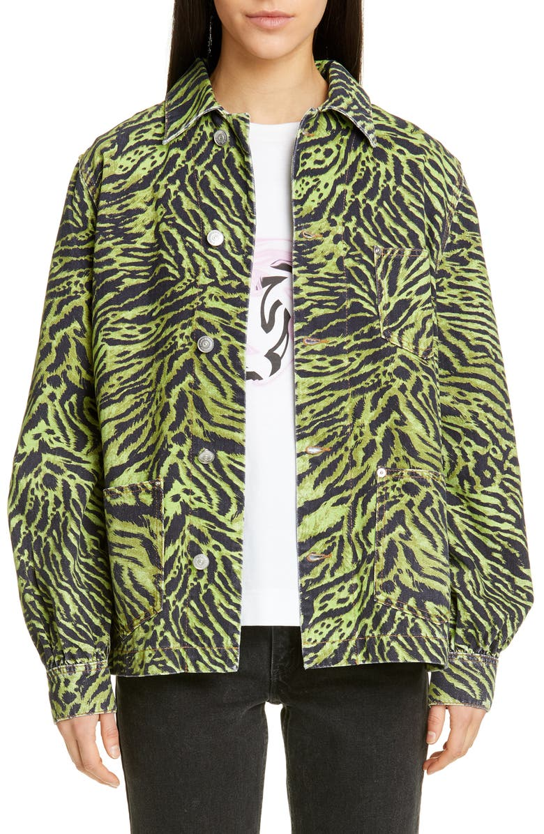 GANNI Tiger Print Oversize Denim Jacket, Main, color, LIME TIGER