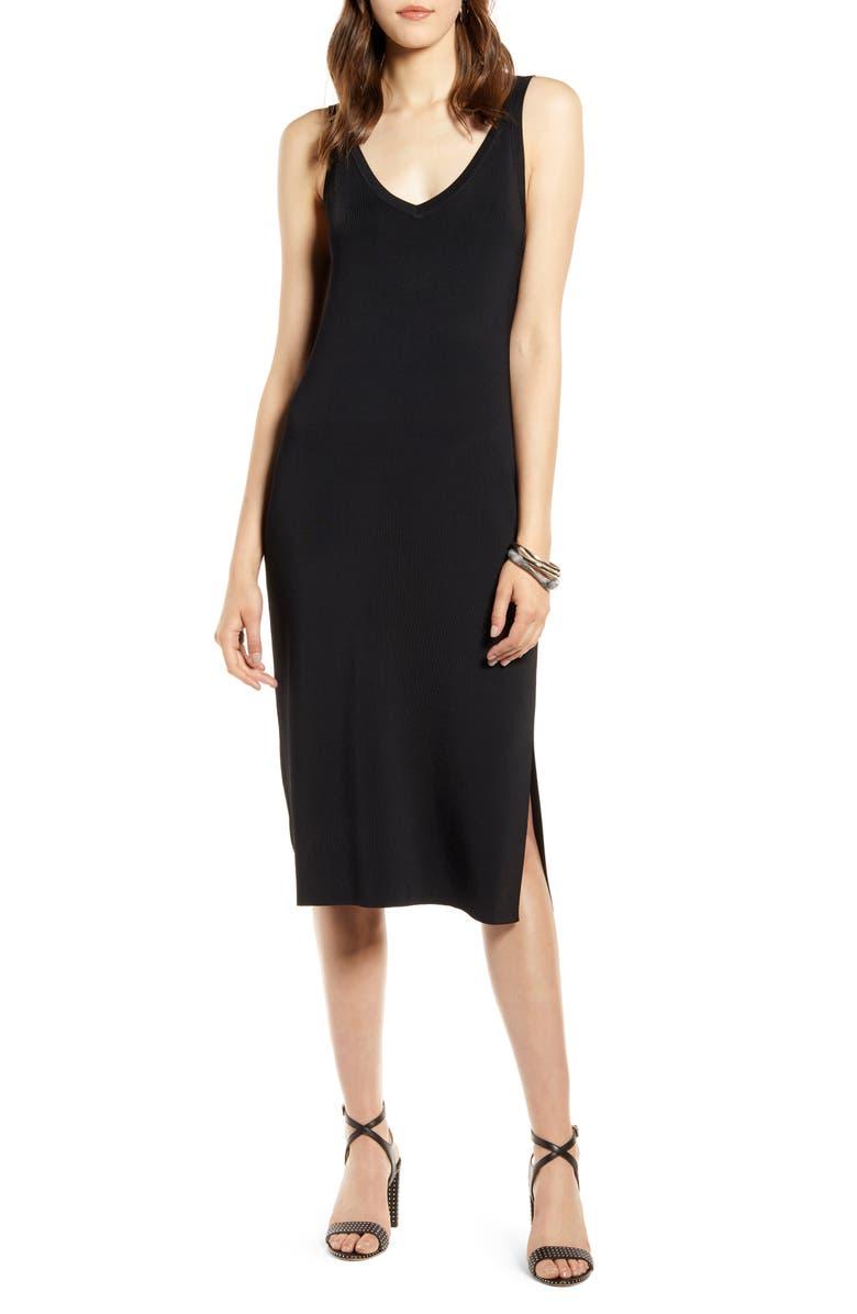 HALOGEN<SUP>®</SUP> Ribbed Tank Dress, Main, color, BLACK